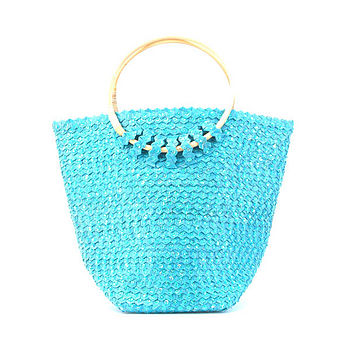 Sequin Basket Turq