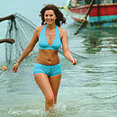 halter neck bikini in the sea