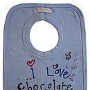I love chocolate, baby bib