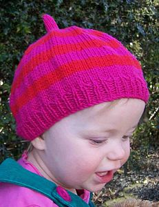 Baby's Stripy Cotton Beret Hat