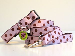 Bon Bon Spotty Dog Collar + Matching Lead - dog collars