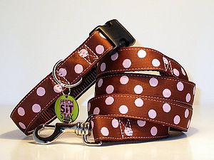 Coco Spotty Dog Collar + Matching Lead - pet leads & harnesses