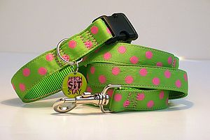Watermelon Spotty Dog Collar + Matching Lead - best collars & tags