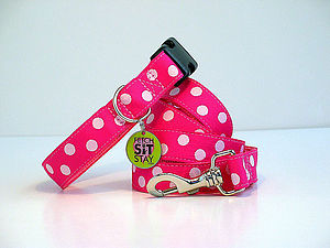 Bubblegum Spotty Dog Collar + Matching Lead - walking