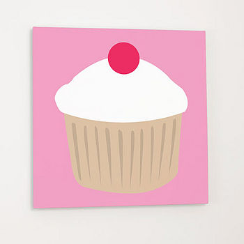 Cherry cupcake canvas (white)