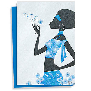 Dandelion Girl Letterpress Greeting Card