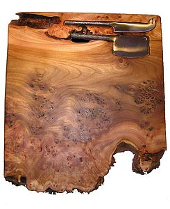 Large Burr Elm Cheeseboard With Two Knives