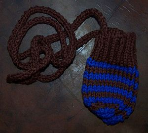 Stripey Cotton Glove Mittens With Ties