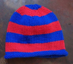 Stripey Pull On Cotton Hat