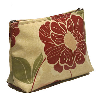Cosmetics Bag Red Floral PVC