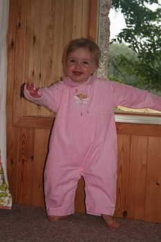 Pink needlecord romper suit