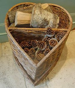 Heart-Shaped Log Basket - storage & organisers