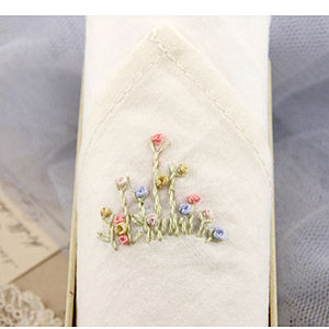 Hand Embroidered Women's Flower Bud Hankie - handkerchiefs
