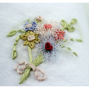 Hand Embroidered Bouquet Hankie - women's accessories