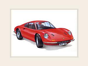 Personalised Ferrari Dino car Print