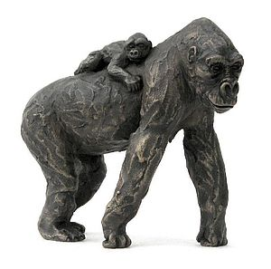 Gorilla Mother & Infant on Back - sculptures