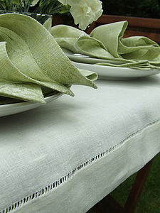 Handmade White Linen Tablecloth Diana