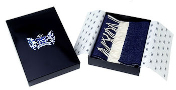 Navy and White Classic Cashmere Football Scarf
