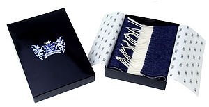 Navy and White Classic Cashmere Football Scarf - men's accessories