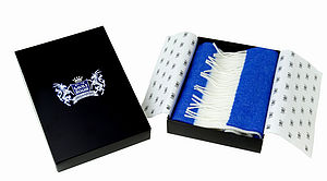 Royal Blue White Classic Cashmere Scarf - best personalised corporate gifts