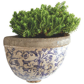 blue whte ceramic planter