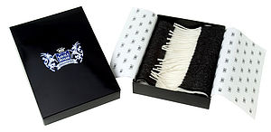 Black and White Classic Cashmere Football Scarf by Savile Rogue - men's accessories