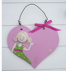 Pink Heart Room Sign