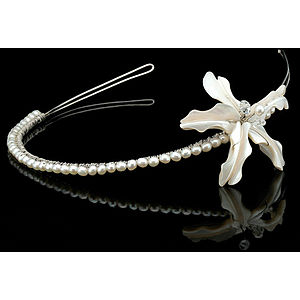 Wild Orchid Single Flower Pearl Tiara - tiaras & hair combs