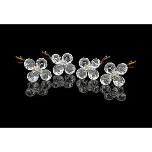 Clear Crystal Flower Hair Pins - head pieces