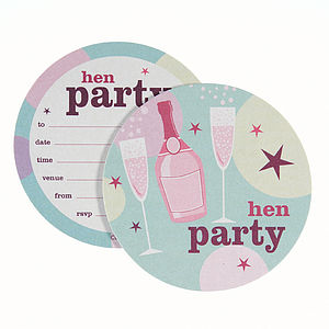 Pack Of Eight Hen Party Coaster Invitations - hen party ideas