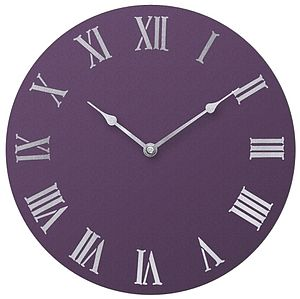 Handpainted Wall Clock: Purple Colour Options - office & study