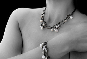 Three Stranded Leather Pearl Set - wedding jewellery