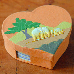 Eco Maximus Elephant Dung Heart Noteholder - office & study