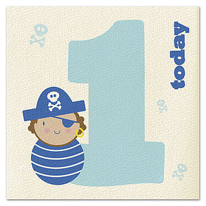Age 1 Little Pirate Card - birthday cards