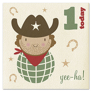 Age 1 Cowboy Card - special age birthday cards