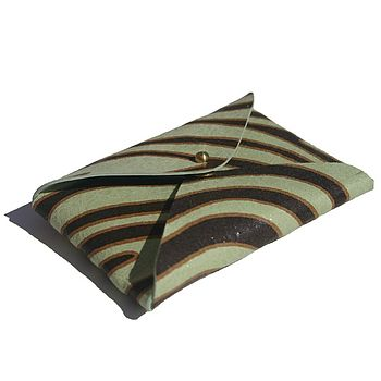 Striped Green Card Holder