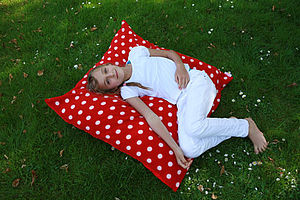 Large Red And White Spot Cushion - children's room