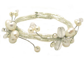 White Pearl Flower and Butterfly Bracelet