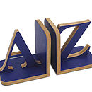 A-Z Bookends: dark blue