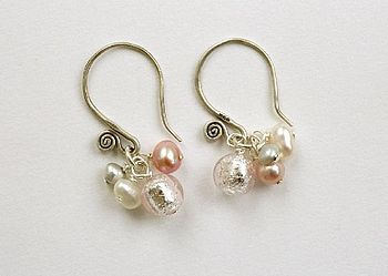 pink murano earrings