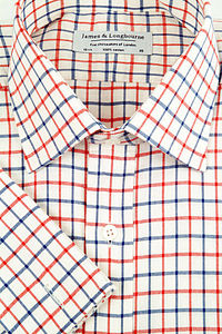 Blue Red small check 100% Poplin Cotton shirt - shirts