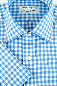 Sky Blue Check 100% Poplin Cotton shirt - shirts