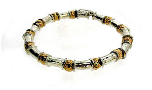 Gold and Silver Beaten Bead Bracelet - jewellery