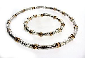 Gold and Silver Beaten Bead Necklace