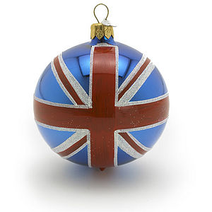 Union Jack Glass Christmas Decoration