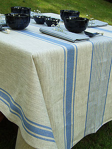 Tablecloth Natural Striped Linen Provence - tablecloths