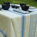Linen Tablecloth Natural Blue Striped Provence