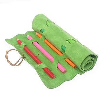 Lime Green Suede Pencil Roll