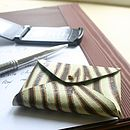 Green Striped Card Holder