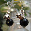 Onyx and Flower Earrings